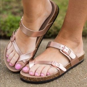 Shoes - Vegan leather double buckle sandal rose gold